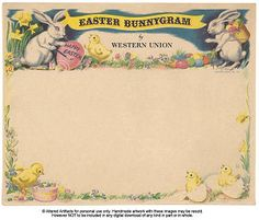 Free Vintage Western Union Easter Bunnygram Telegram Printable from ALTERED ARTIFACTS