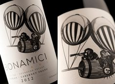 Black and white sketch, textured label paper Bonamici Cellars brand and packaging design by Hired Guns