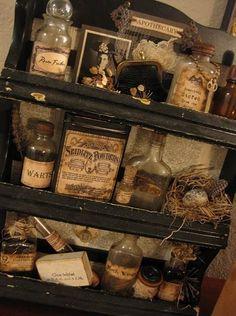 love this primitive shelf and bottle idea.