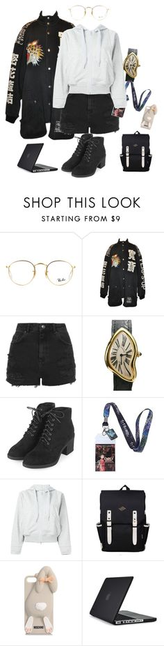 """""""•○°○•°°•°°•"""" by yeppeuntae ❤ liked on Polyvore featuring Ray-Ban, Topshop, Cartier, Ghibli, adidas, Moschino, Speck and black"""