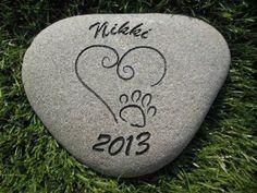 Sandblast Engraved River Stone Pet Memorial Headstone Grave Marker Dog Cat h med by GraphicRocks