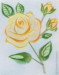 Поздравление 8 марта Изонить Розочка к празднику Нитки