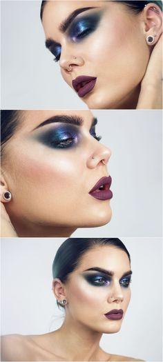 metallic blue smokey cat eye w/ purple & green - dramatic & bold makeup w/ deep wine red lips @lindahallbergs | linda hallberg