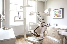 Dental office treatment room.  Custom cabinets. Adec chair.