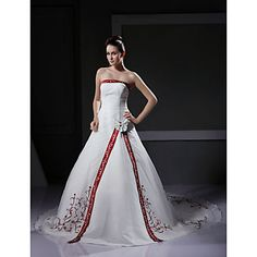 A-line Strapless Sleeveless Organza Satin Chapel Train Wedding Dress – US$ 249.99