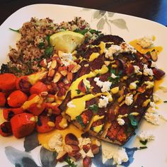 Smoky Ginger-Cumin Eggplant Steaks with Quinoa Tabbouleh, Carrots, Turmeric Tahini Dressing, Almond Ricotta, & Toasted Almonds