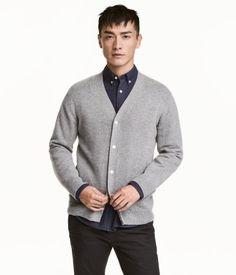 Wool-blend V-neck Cardigan | Gray melange | Men | H&M US