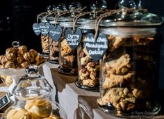 Cool cookie bar at a wedding reception! See more party ideas at CatchMyParty.com. #wedding #desserttable