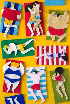 August 2013 ☞ Craft, Illustration ☞ Jacopo Rosati is an Italian illustrator based in Venice. Until last years, he only worked with digital illustrations, but he was kind of bored. Felt Crafts, Kids Crafts, Arts And Crafts, Paper Crafts, Art Du Collage, Fuzzy Felt, Felt Art, Art Plastique, Beach Art