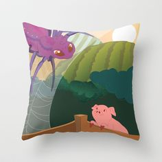 The spider and the pig Throw Pillow - $20.00 charlottes web, spider pig, charlotte, wilbur, pillow gift, gift ideas