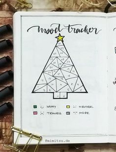 christmas tree Bullet Journal December Moodtracker christmastree – Bullet Journal December Setup December Bujo with Christmas doodles and step by step instructions. Christmas Bullet Journal The Effective … Bullet Journal Tracker, Bullet Journal December, Bullet Journal Weekly Spread Layout, Minimalist Bullet Journal, Bullet Journal Mood Tracker Ideas, Bullet Journal Christmas, Bullet Journal Cover Page, Bullet Journal Notebook, Bullet Journal Themes