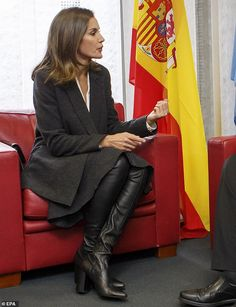4aa44e4f5 Letizia of Spain nails business chic for conference in Switzerland