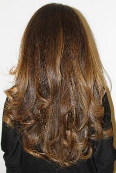 Brunette with caramel highlights. Color by Neil George Salon colorist Johnny Ramirez. hair-color