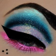 Colorful glitter eyes  -Strong to-die-for brows and liner with super pigmented eyeshadow. I love, love, love it ~C