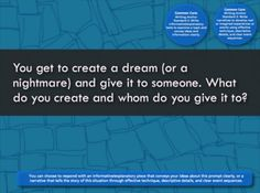 You get to create a dream (or a nightmare) and give it to someone. What do you create and whom do you give it to?