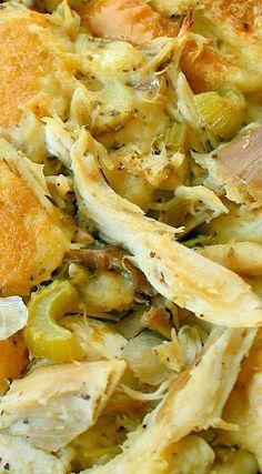 Amish Roast Turkey (Or Chicken) & Dressing Casserole Turkey Dishes, Turkey Recipes, Chicken Recipes, Dinner Recipes, Dog Recipes, Beef Recipes, Potato Recipes, Hamburger Recipes, Meatloaf Recipes