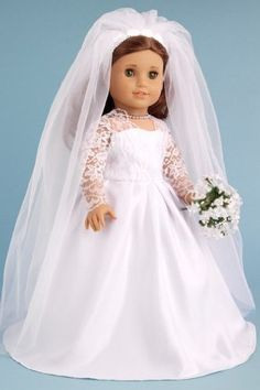 DreamWorld Collections Princess Kate Royal Wedding Dress with White Leather Shoes and Tulle Veil - Clothes for American Girl Dolls : Special Occasion Dresses
