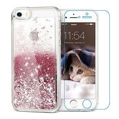 iPhone 5/5S Case iPhone SE Case Maxdara Shockproof Glitter Liquid Luxury Bling Sparkle Protective Case [iPhone 5/5S/SE Screen Protector] Pretty Fashion Creative Design for Girls Children (RoseGold)