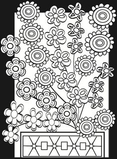 Welcome to Dover Publications - Flower Power Stained Glass Coloring Book Flower Coloring Pages, Coloring Book Pages, Printable Coloring Pages, Coloring Sheets, Doodle Coloring, Coloring For Kids, Free Coloring, Paisley, Dover Publications
