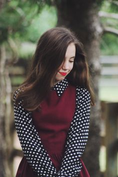LOVE that combination of dots and burgundy.