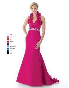 730738aa525f Magenta mermaid halter V-neck lace up sweep train prom dress with ruffles  US$138.90