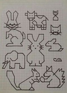 Cornicette animali // a good idea for teaching about skill directions Blackwork Patterns, Blackwork Embroidery, Cross Stitch Embroidery, Embroidery Patterns, Cross Stitch Patterns, Graph Paper Drawings, Graph Paper Art, Easy Drawings, Drawing For Kids