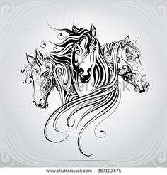 Heads Of Horse Are In A Decorative Pattern Stock Vector Illustration 267102575 : Shutterstock Horse Head, Horse Art, Horse Drawings, Art Drawings, Motifs Animal, Animal Patterns, Wood Burning Patterns, Desenho Tattoo, Doodles Zentangles