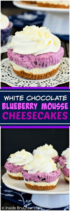 White Chocolate Blueberry Mousse Cheesecakes