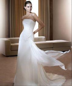 Chiffon dritto abiti da sposa senza spalline a buon mercato sottile
