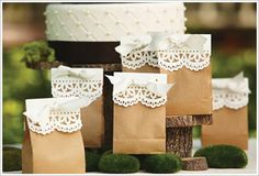This would be a cute and inexpensive wedding favor!  Use red doilie and gray ribbon!  Could put candy or a small trinket in it. #Wedding #Favor #Bags
