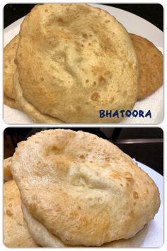 Bhatoora is a fluffy deep-fried leavened bread from the Indian Subcontinent. It's very popular in North India and is usually served in breakfast. Indian Flat Bread, Paratha Recipes, Fries, Good Food, Vegetarian, North India, Tasty, Homemade, Cooking