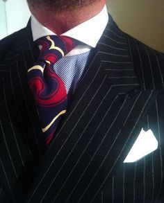 thesnobreport:    WIWT Dressed For Success Flannel Pinstriped DB Suit by Oger, MTM Emanuel Berg Shirt & Drake's London Tie