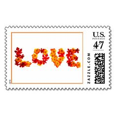Love Design Seasonal Fall Weddings Save The Date Postage Stamp