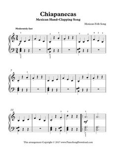 Mexican Hand-Clapping Song - Chiapanecas, early intermediate sheet music.