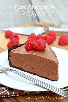 Dark Chocolate Cream Pie on MyRecipeMagic.com