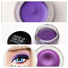 Maybelline Color Eye Tattoo Painted Purple - Makeup Forever Aqua Cream #19 - Stila Smudge Pot Barbie