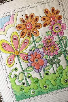 "A close-up of ""Bloomin"" by mamacjt, via Flickr Crayons on fabric"