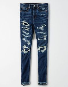 Shop Curvy Super High-Waisted Jeggings at American Eagle to find your new favorite fit. Designed for curves and made for you, curvy jeans feel as good as they look. Girls Ripped Jeans, Ae Jeans, Curvy Jeans, Casual Jeans, Black Palazzo Pants, Black Pants, Khaki Pants, High Waist Jeggings, Hiking Pants