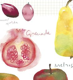Kitchen art Fall fruits watercolor food by lucileskitchen on Etsy, $38.00