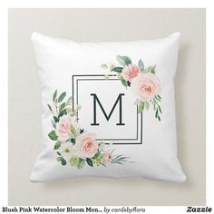 Blush Pink Watercolor Bloom Monogram Throw Pillow Custom Pillows, Decorative Throw Pillows, Adult Halloween Invitations, Family Photo Collages, Contemporary Bedroom Decor, Mothers Day Flowers, Elegant Flowers, Pink Watercolor, White Pillows