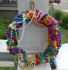 Mardi Gras Bead Wreath