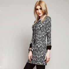 Fashion Floral Print Long Sleeve Round Neck Slim Fit Bottoming Dress
