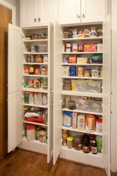 Shallow Pantry Cabinet with shallow kitchen pantry Small Kitchen Pantry, Kitchen Pantry Design, Kitchen Jars, Kitchen Pantry Cabinets, Kitchen Redo, Small Pantry Cabinet, Kitchen Remodel, Kitchen Larder, Corner Pantry