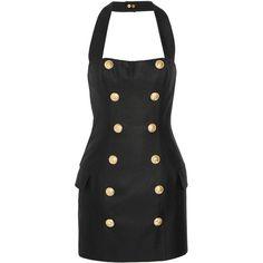 Balmain Canvas halterneck mini dress (£1,530) ❤ liked on Polyvore featuring dresses, balmain, corset style dress, short halter dress, short fitted dresses, halter top and halter-neck dresses