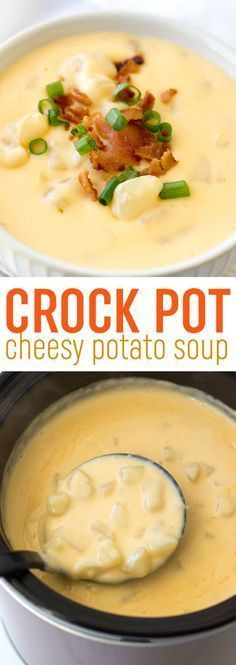 This easy crock pot cheesy potato soup recipe is so easy to whip up in your slow cooker. It's the ultimate comfort food! This easy crock pot cheesy potato soup recipe is so easy to whip up in your slow cooker. It's the ultimate comfort food! Slow Cooker Potato Soup, Potato Soup Recipes, Crockpot Loaded Potato Soup, Chicken Recipes, Crock Pot Soup Recipes, Easy Crockpot Soup, Chicken Potato Soup, Potatoes Crockpot, Food Dinners