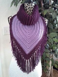 Best 12 Keep warm and fashionable this season with this beautiful handmade turtleneck scarf. Made with acrylic yarn in shades of purple with fringe added. This is the perfect scarf to accessorize with any outfit and is warm and comfortable to wear. Crochet Scarves, Crochet Shawl, Crochet Stitches, Knit Crochet, Crochet Patterns, Crochet Triangle, Triangle Scarf, Crochet Newsboy Hat, Crochet Capas
