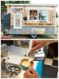 1970s travel trailer-turned-rustic mobile coffee shop that offers an espresso bar and coffee catering services for events.