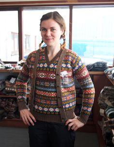 Photo courtesy of Fancy Tiger, of Ysolda Teague, wearing garments by Jamieson's of Shetland.