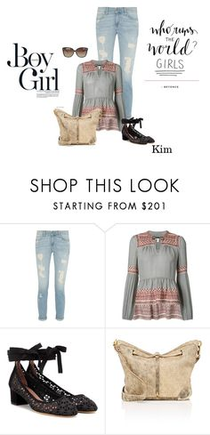 """Borrowed from the boys:  Boyfriend Jeans"" by ksims-1 ❤ liked on Polyvore featuring Boy Meets Girl, Veronica Beard, Tabitha Simmons, Jérôme Dreyfuss and Linda Farrow"