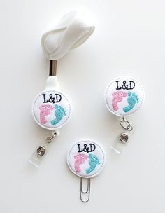 L&D Labor and Delivery Badge Reel | ID Badge | Felt Nurse Badge | Medical Badge Holder | Medical Lanyard | Bookmark | Planner Accessories